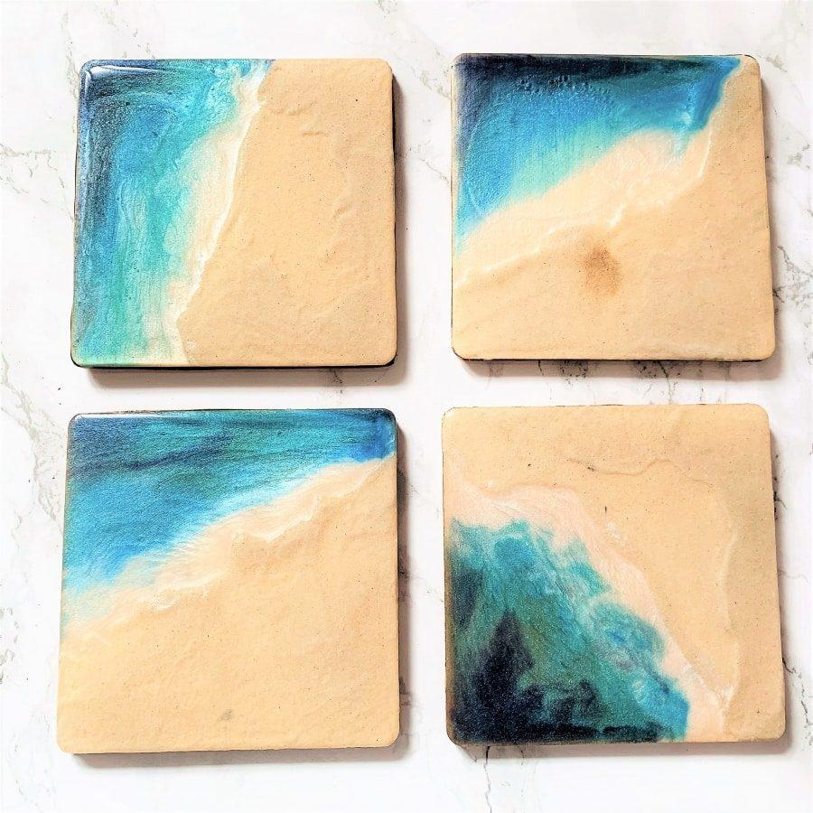 beach resin coasters closeup