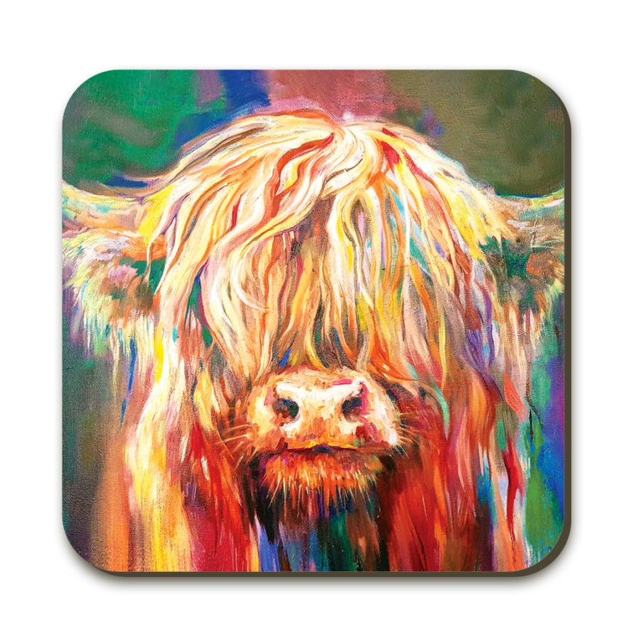 baby highland cow coaster