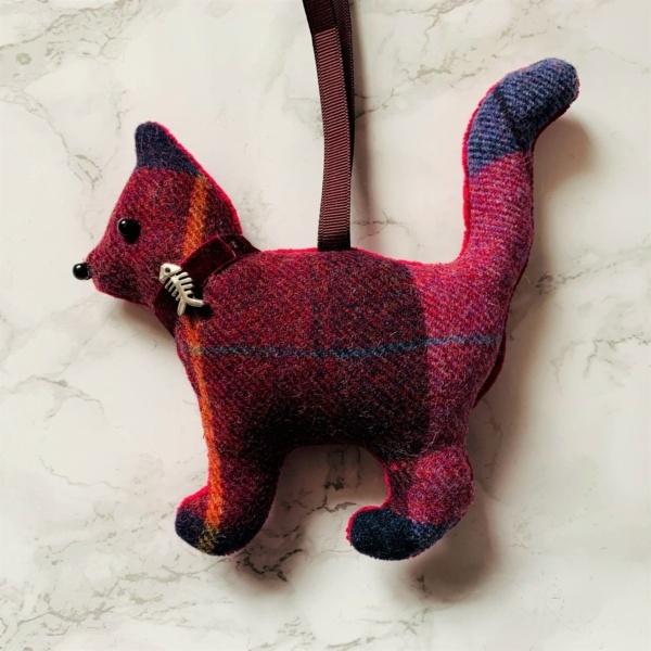 animal hanging decoration cat burgundy pink