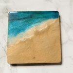 beach scene resin coaster