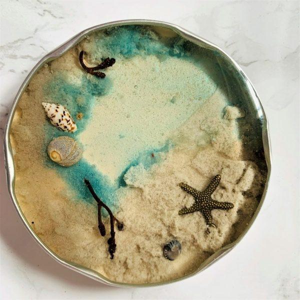 beach starfish resin coaster jam jar
