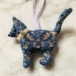 animal hanging decoration cat blue grey lilac