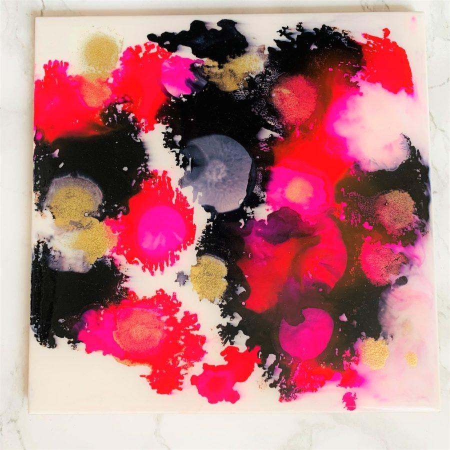ceramic tile board pink black medium