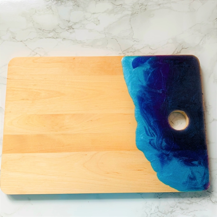 dark blue purple turquoise resin board
