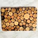 wooden serving board black resin