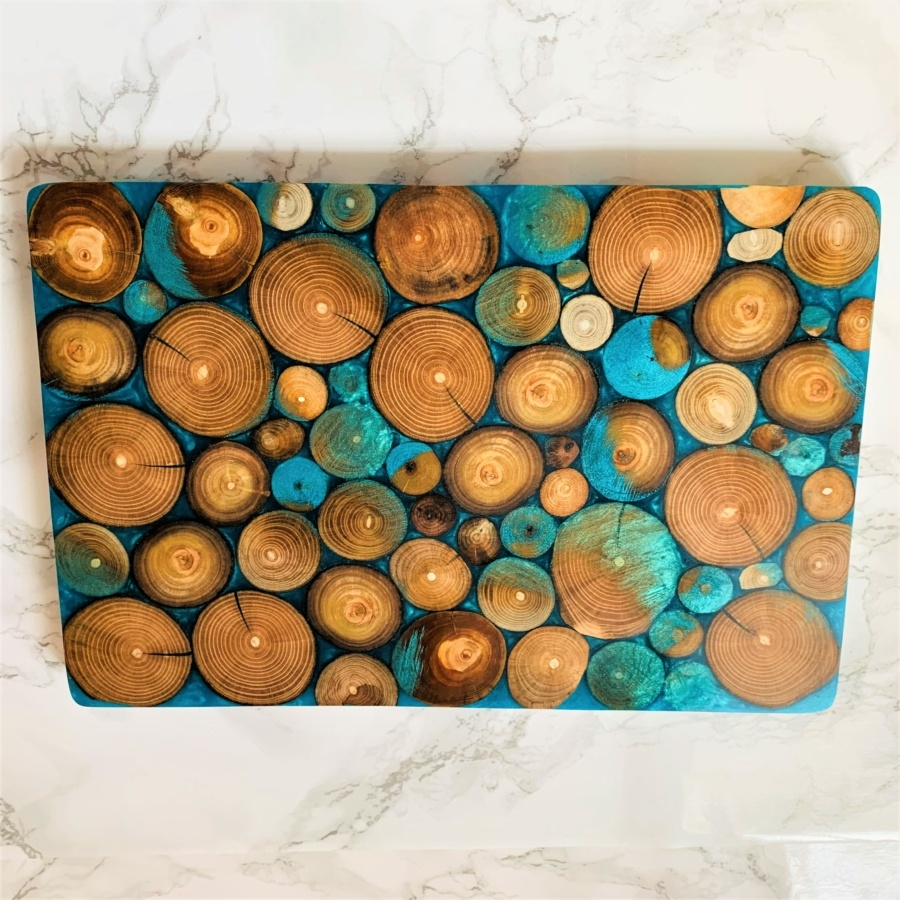 wooden serving board bright blue resin and driftwood