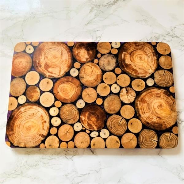 wooden serving board purple resin large