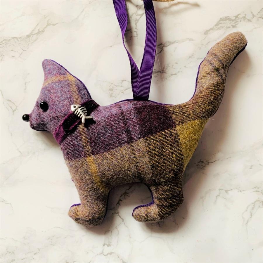 animal hanging decoration cat lilac purple brown yellow