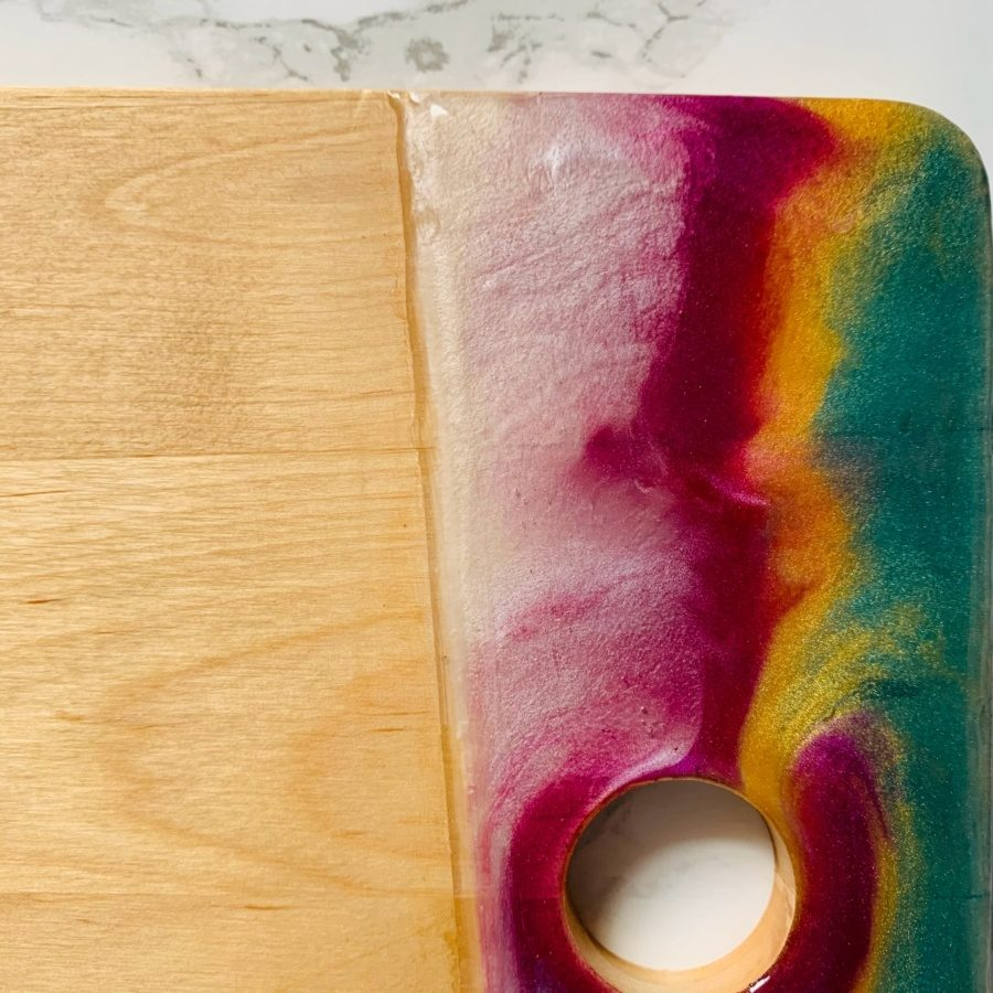 pink green gold white close up resin board