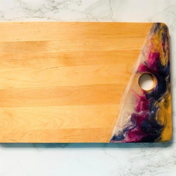 wooden chopping board pink purple white gold resin board