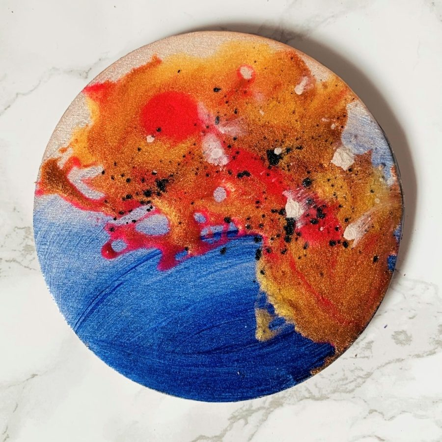 planets blue red coaster copper resin