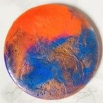 planets red blue gold coaster resin