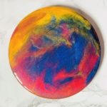 planets yellow blue red coaster resin
