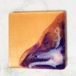 purple white copper coaster resin