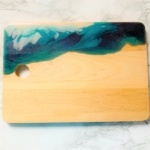 wooden chopping board white blue resin