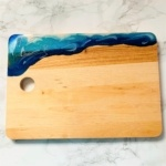 wooden chopping board white turquoise dark blue resin