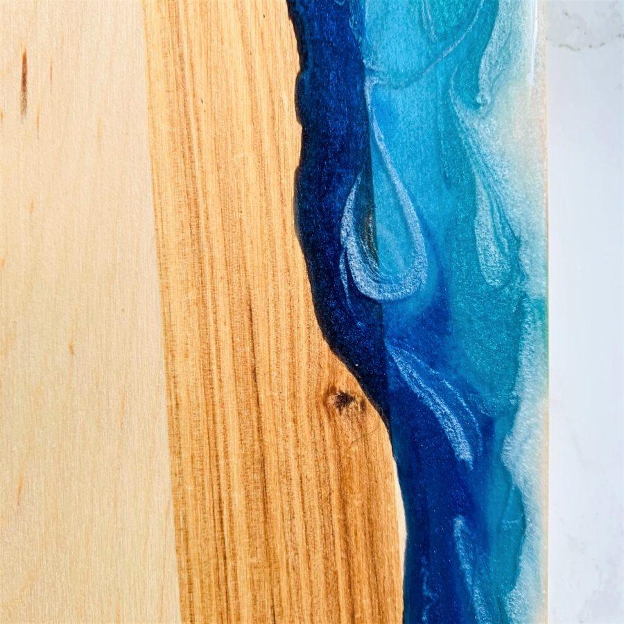 white turquoise dark blue resin board