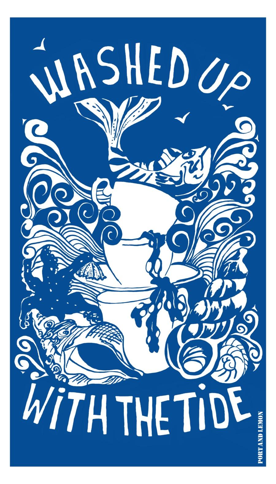 seaside fish theme kitchen tea towel