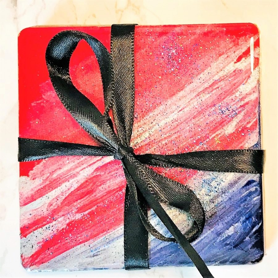 Coaster gift set - red white blue resin close up