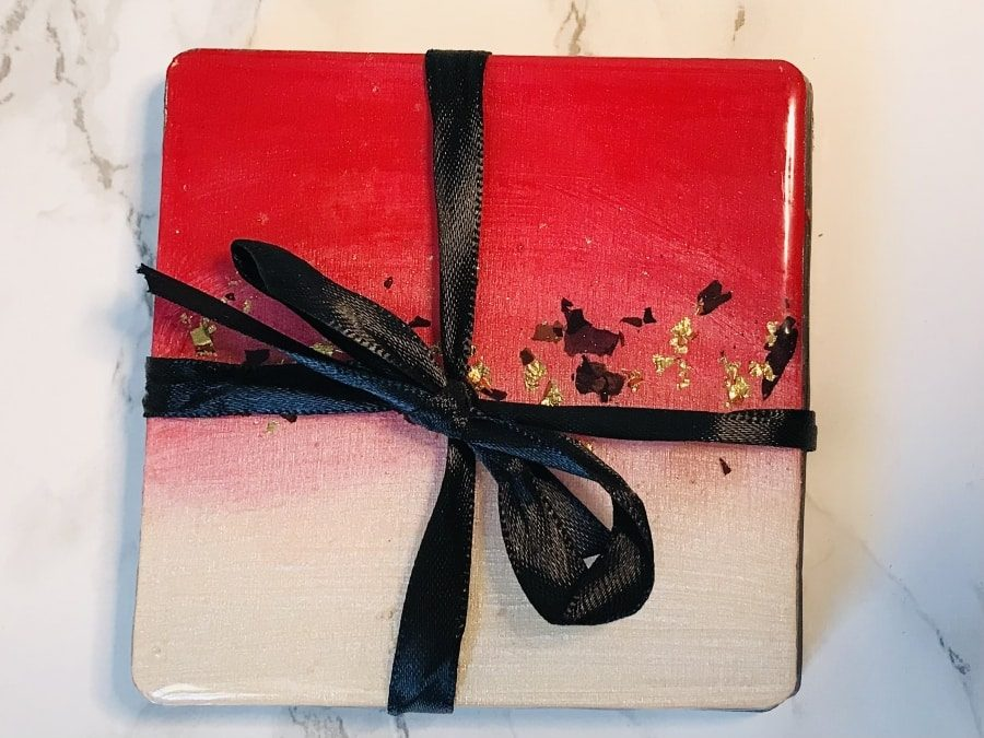 coaster gift set square petal hand tied