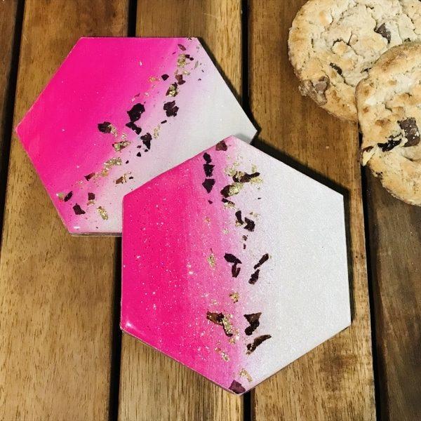 Petal coaster gift set hexagonal - pink & gold leaf