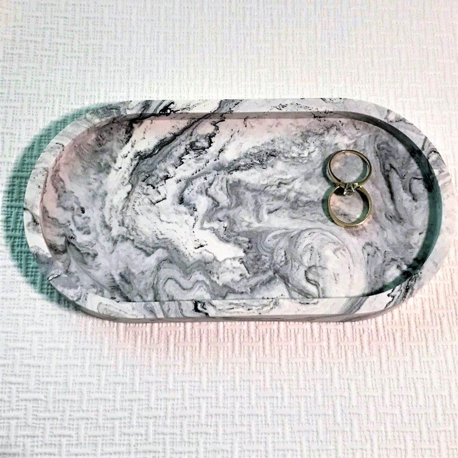 trinket tray jesmonite oval black white rings