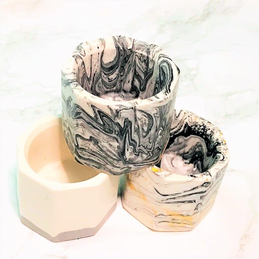 Tea light holder gift set trio (black white gold) stack