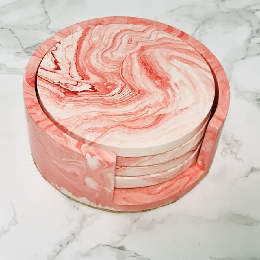 Jesmonite coaster gift set & holder (pink/red)