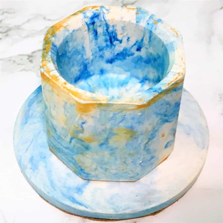 coaster tea light holder gift set blue gold