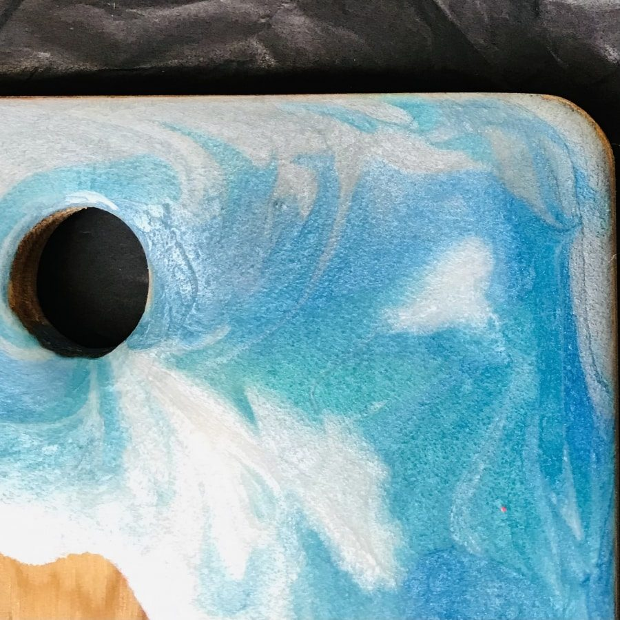 blue swirl resin wooden chopping board